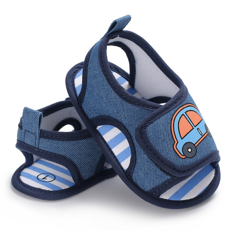 Newborn Baby Boys Shoes Infant Toddler Car Printed Crib Footwear Blue Summer Soft Sole First Walker Prewalkers Fashion Shoes