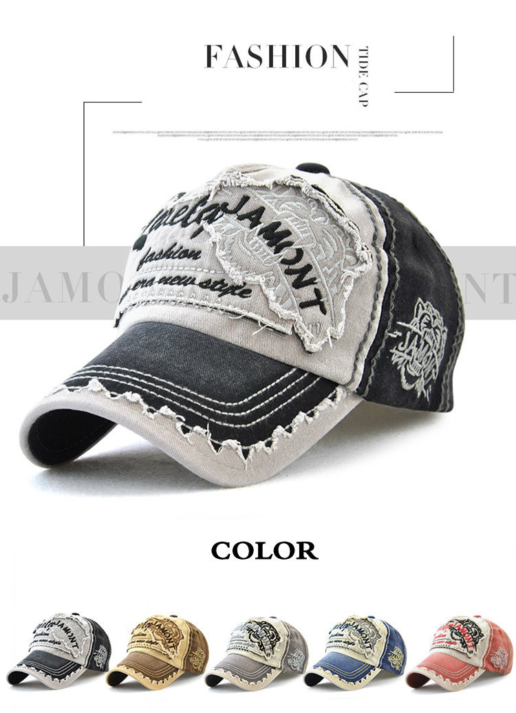 Mens Cowboy Cap Female Cotton Baseball Cap Ladies Washed Old Fashion Outdoor Sunshade Casual Sunscreen Tide Hat