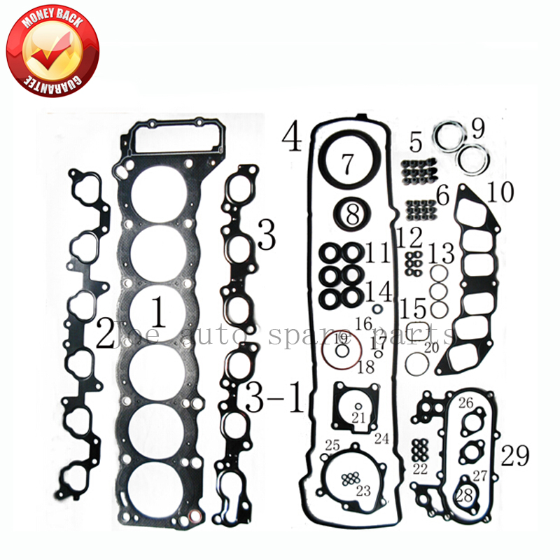 1FZFE 1FZ-FE <font><b>Engine</b></font> Full gasket set kit for <font><b>Toyota</b></font> Land Cruiser 24V 4477cc 4.<font><b>5L</b></font> 1998-2005 CK9358 54071900 image