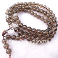 Natural smoky quartz Crystal bracelet 6mm,Buddhist 108 Natural Tea Crystal meditation prayer beads mala