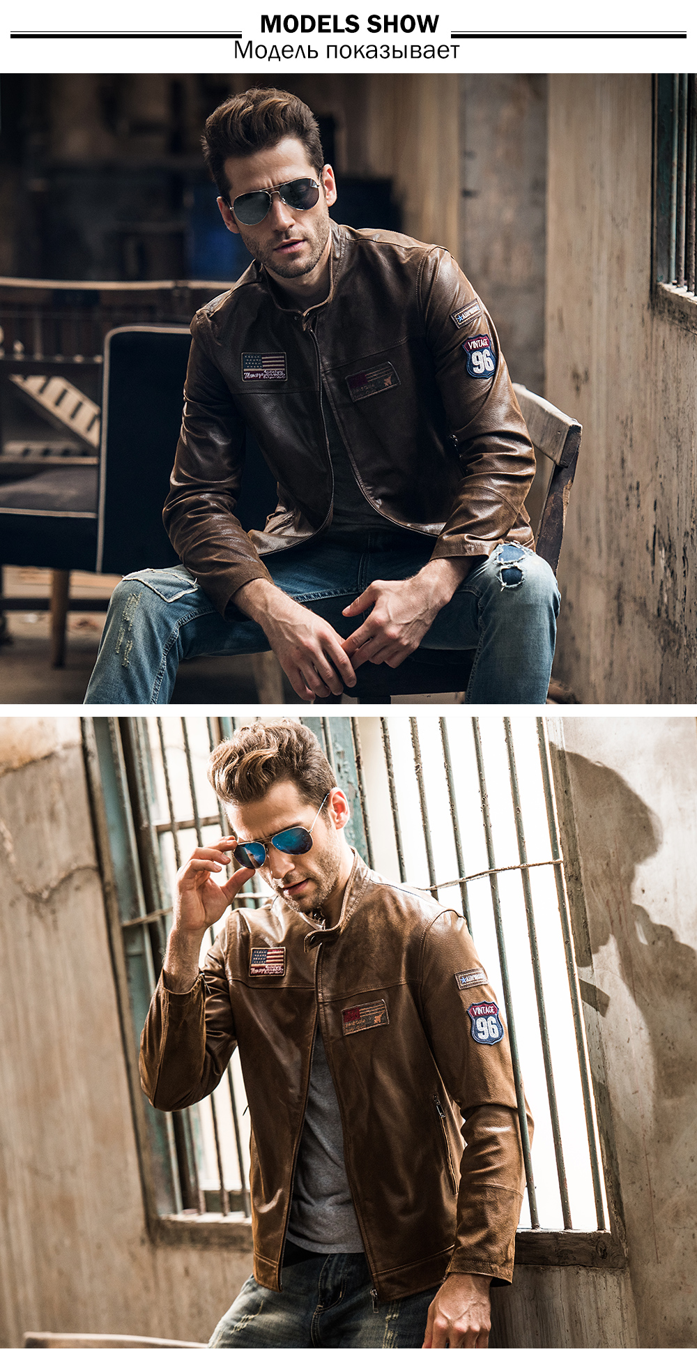 Men's real leather jacket pigskin motorcycle Genuine Leather jacket men pig leather coat air force jacket