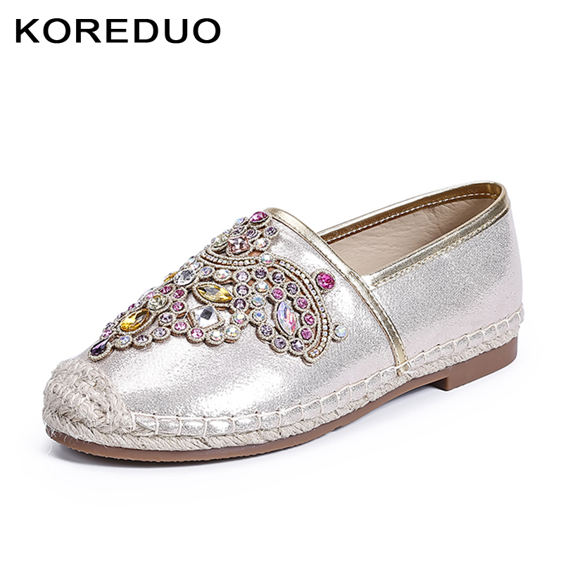 KOREDUO cane hemp straw women loafers spring fisherman flat heel shoes Crystal faux pearl espadrilles woman slip on flats msw
