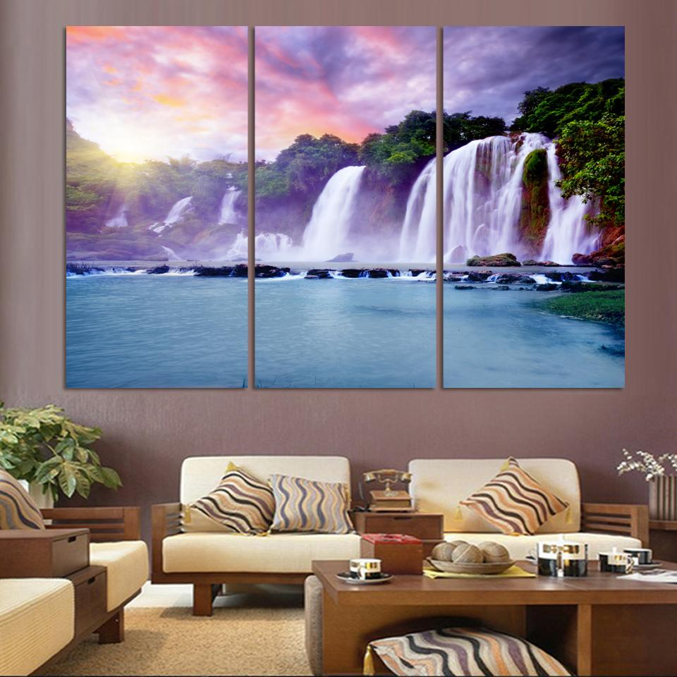 Three Pictures Combination Waterfall Painting Canvas Wall Art