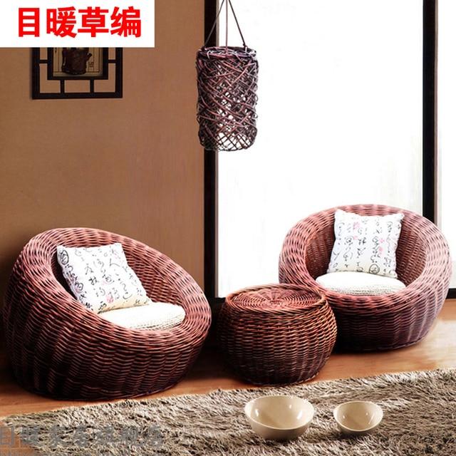 0 Head Warm Bamboo Rattan Wicker Sofa Single Outdoor Chairs  Balcony Leisure Beanbag