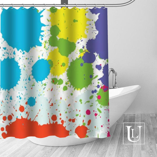 Color Splash Art Pattern Shower Curtains Custom Design Creative Curtain Bathroom Waterproof Polyester Fabric