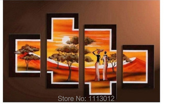 Hot Modern Abstract Yellow Tree African People Life Oil Painting On Canvas 4 Panel Art Set Home Wall Decorative For Living Room