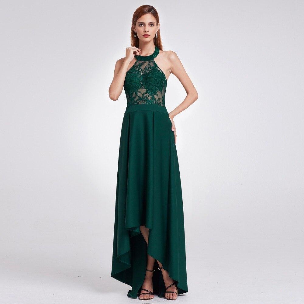 Dark Green Prom Dresses 2018 Halter Backless Ever Pretty Brand - Särskilda tillfällen klänningar
