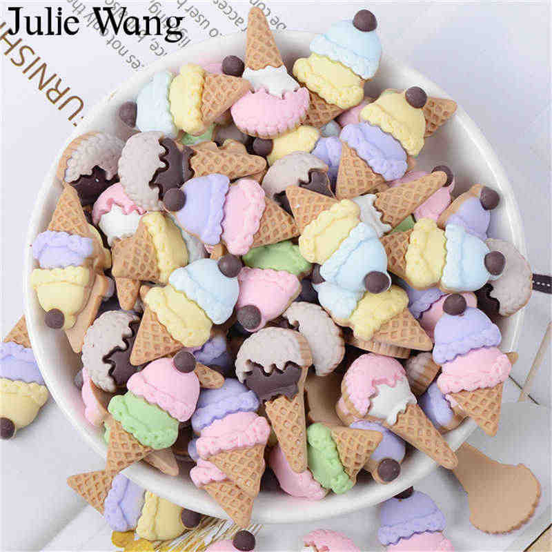 Julie Wang 10PCS Mixed Resin Ice Cream Slime Charms Artificial Food Pendant Jewelry Making Accessory Table Phone Case Decor Prop