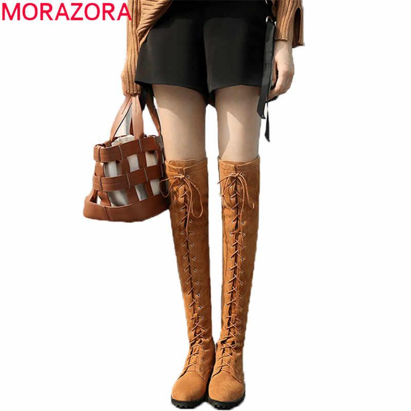 MORAZORA 2020 สีดำมาใหม่เข่ารองเท้า women zip lace up แฟชั่นรองเท้า antiskid ฤดูใบไม้ร่วงฤดูหนาวรองเท้า