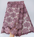 Grande pesante puro cipolla Guipure Africano del merletto molto ordinato ricamo Nigeriano tessuto di pizzo cavo con una forte pietre di alta qualità 5 metri