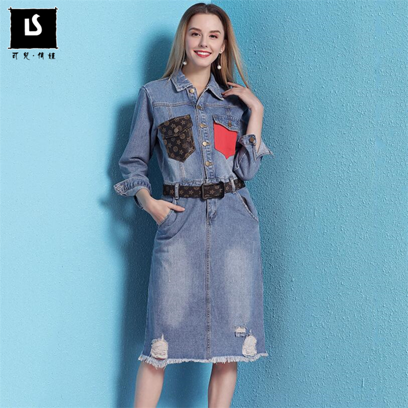 High quality Europe American Spring Autumn Fashion Pocket Splice Women Casual Denim Dress Ladies Long Sleeve