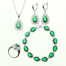 Green Created Emerald White CZ 925 Sterling Silver Jewelry Sets For Women Bracelet Earrings Necklace Pendant Ring Free Gift Box