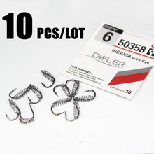 купить 10pcs/lot  iseama 1#-10# spring fishing hooks Stainless Steel Barbed Swivel Explosion Hooks  for Carp Fly Fishing Pesca owner дешево