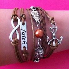 Mixed 19 Styles Handmade Chunky Multi Layers Combined Leather wrap link bracelet Infinity faith Anchor Owl Faith Best Friend sil