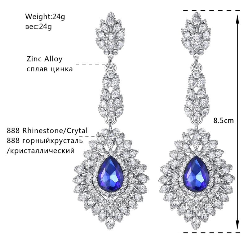 Minmin Mewah Teardrop Crystal Long Drop Earrings Perak Warna - Perhiasan fesyen - Foto 4
