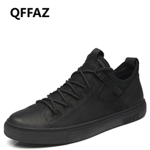 QFFAZ shoes men genuine leather Men Casual Shoes Fashion Driving men shoes lace up winter casual shoes for men Big Size 38-46