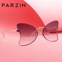 Parzin Sunglasses Women Butterfly Shape UV400 Metal Frameless Light Nylon Lens Tide Sunglasses 2019 New 8219