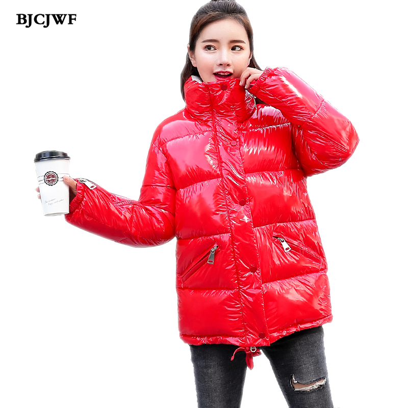 BJCJWF 2018 New womens spring jackets Autumn Warm Cotton Stand collar Coat Fashion Women Parkas Female