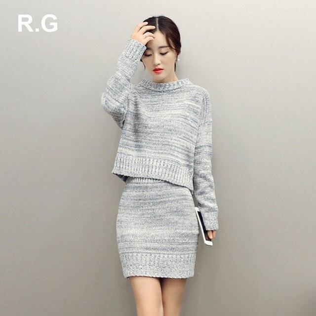 Rg модные женские туфли свитер юбка костюм комплект элегантный