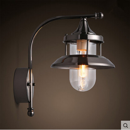 Modern Edison Plated Wall Lamp Glass Lampshade Simple Wall Sconces Fixtures For Bar Cafe Home Lightings Lamparas De Pared