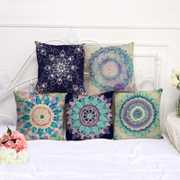 Decorative Pillow Case Geometric Flower New Design Pillowcase 17.5 Inch Cotton Linen Chair Seat Throw Pillow Cover P1061