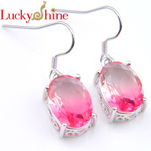 Luckyshine  Gradient Pink Tourmaline Crystal Zirconia New Silver Fashion Drop Earrings For Women Party Wedding Jewelry