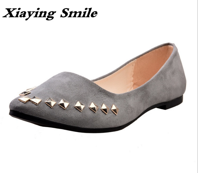 Xiaying Smile Spring Summer Woman Ballet Flats Women Boat Shoe Slip On Casual Pointed Toe Rivet Rubber Flock Mother Women Shoes xiaying smile summer women sandals casual fashion lady square heel slip on flock shoes pointed toe cover heel lace bowtie shoes