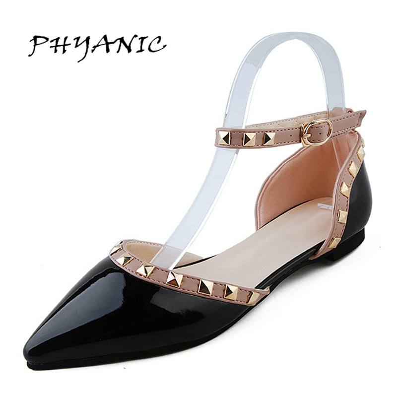 PHYANIC 2017 Women Sandals New Summer Gladiator Rivet Pointed Toe Sandals Flip Flops Shoes Flat Sandal Sandalias Mujer phyanic 2017 gladiator sandals gold silver shoes woman summer platform wedges glitters creepers casual women shoes phy3323
