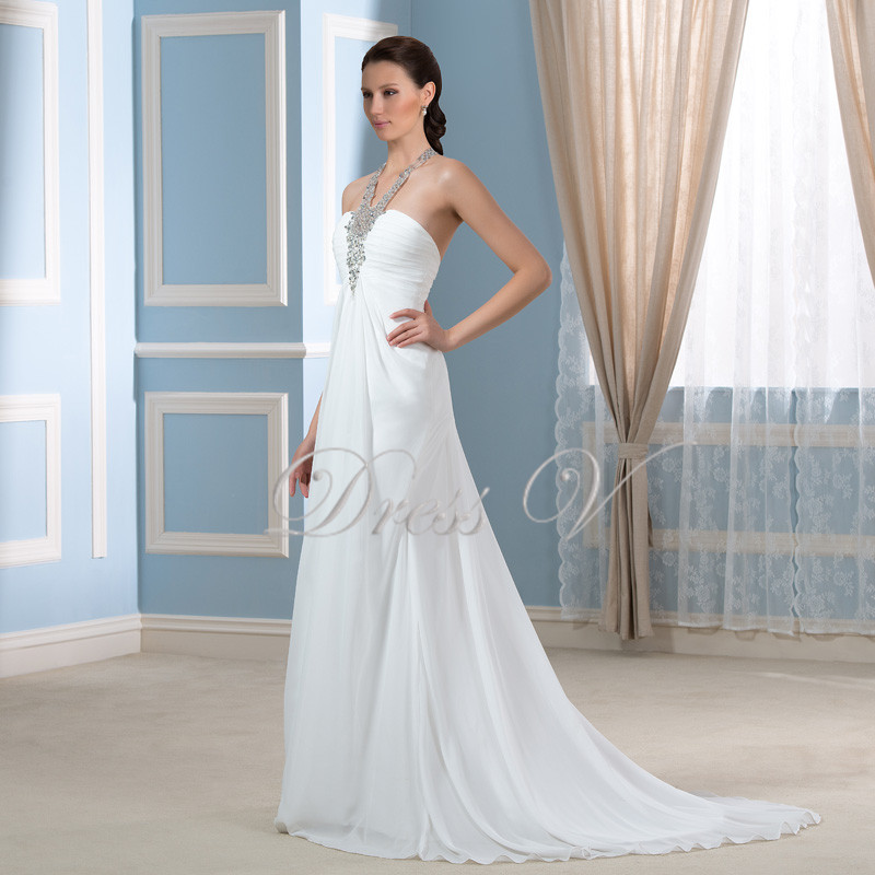 Bohemian Chiffon Beach Short Wedding Dresses 2016 Halter Neck Open ...