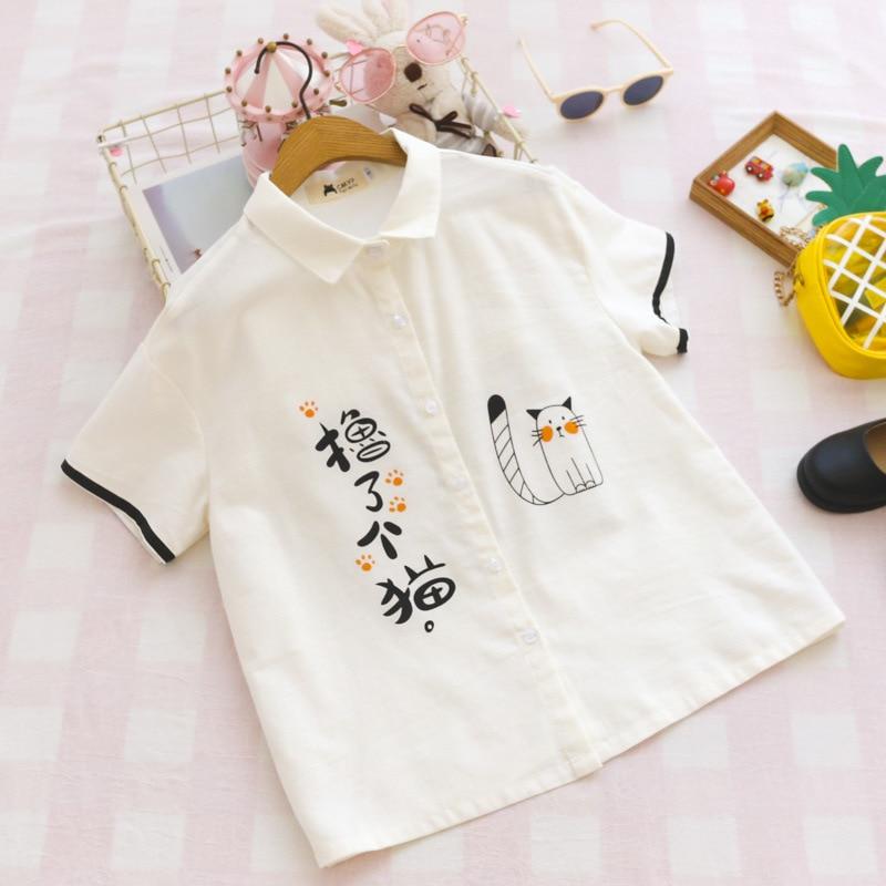 Summer Japanese Cute Fashion Linen Shirt Women School Style Funny Cat Tops Kawaii Printed Button Up Short Sleeve Girl Blouses 1