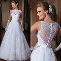 Una línea de Vestidos de Novia 2016 Vestido de Noiva Una Línea de Opacidad Volver Vestido De Casamento Romántica Elegante Del Cordón Vestido De Novia