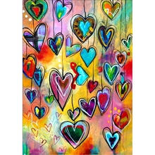 5D DIY Алмазная вышивка крестиком красочное сердце вышивка рукоделие