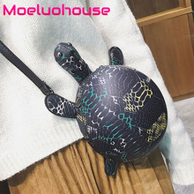 Moeluohouse Tortoise Shape Bag Women Shoulder Messenger Crossbody Mori Girl Zipper Black Korean Style Cute Fashion Special Gift