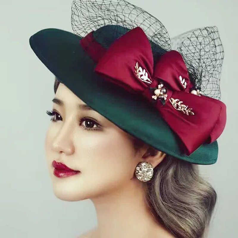 Large Wide Brim Women Winter Hat 2019 Green Fedora Hats Veil Felt Cap Ladies Bow Cloche Caps Church Wedding Female M157