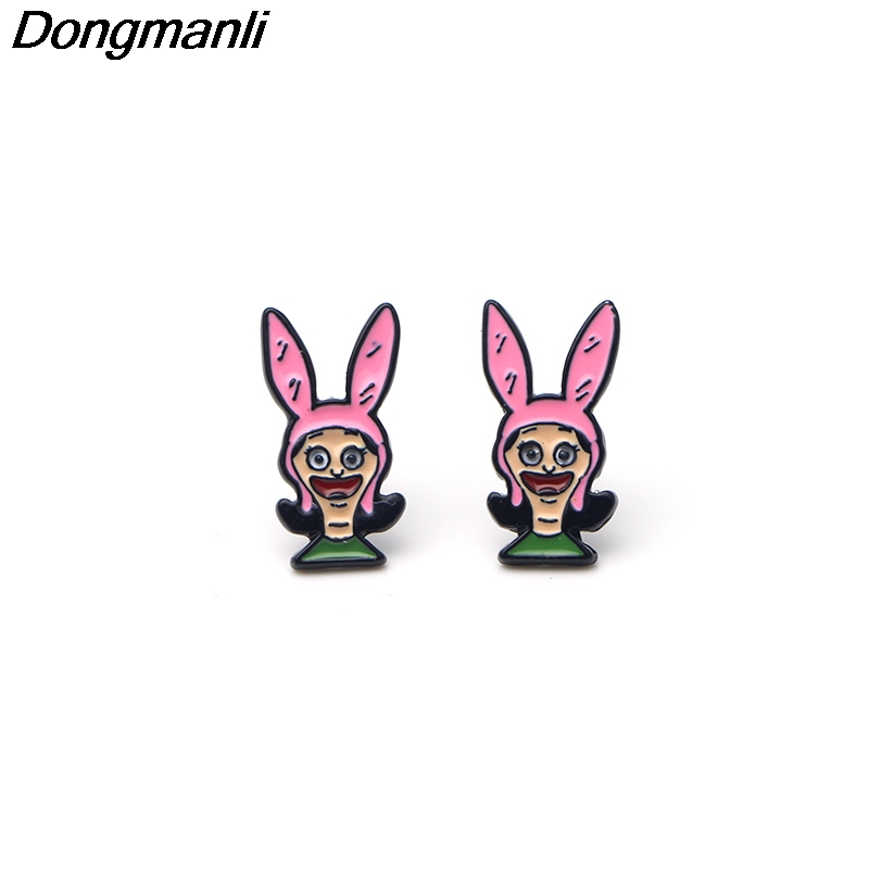 Dongmanli Cartoon Bob's Burgers Earrings Cartoon Jewelry Prevent allergy Stud Earring Pendant for Kids Girls Cute Gifts M2142