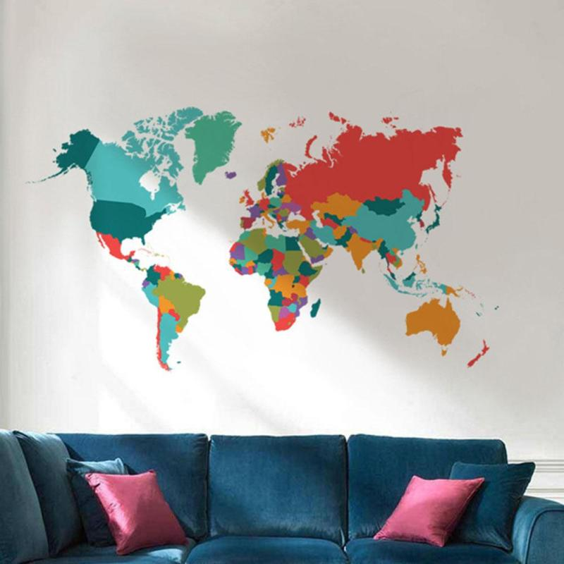 Colorful world map wall sticker diy removable vinyl decal sofa nameworld map classificationfor wall materialpvc styleinternational patternplane wall sticker scenarioswalldoor themepattern size60110 cm gumiabroncs Image collections