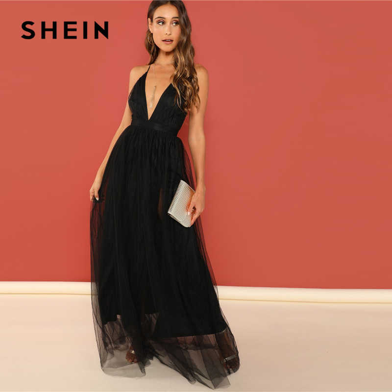2b4ac1c0dd ... SHEIN Black Night Out Plunging Neck Deep V Neck Crisscross Back Cami  Sleeveless Backless Dress Women ...