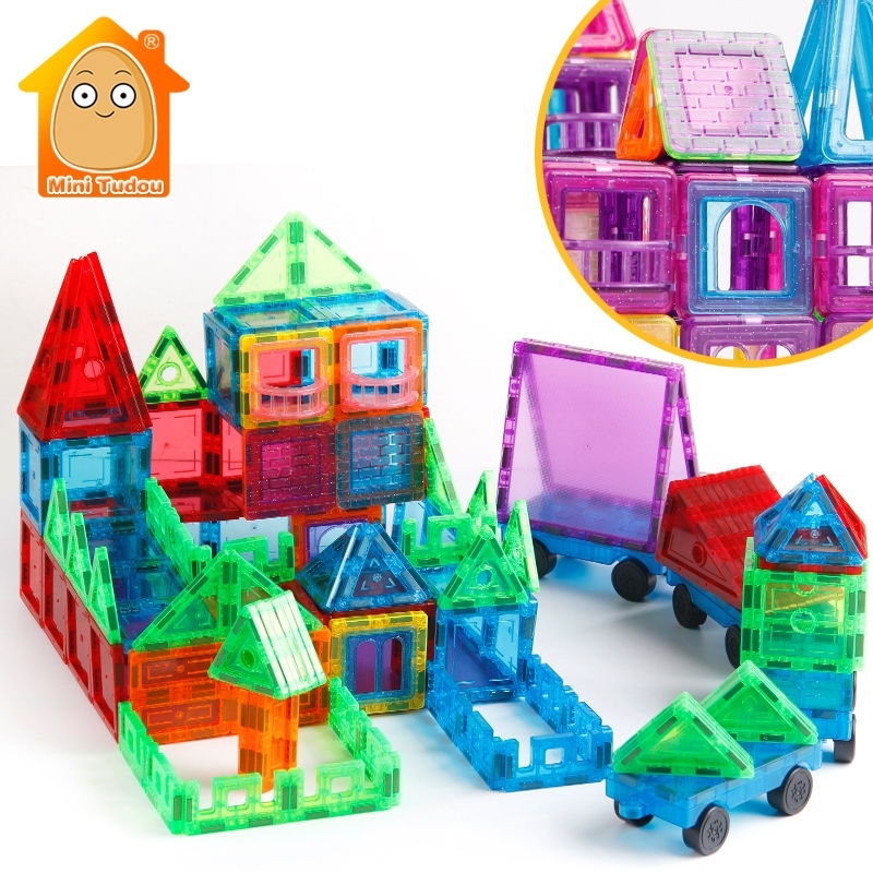 46-72pcs Transparente Magnetic Tiles Magnetic Constructor Technic Building Block Girls Toys Enlighten Toy For Children