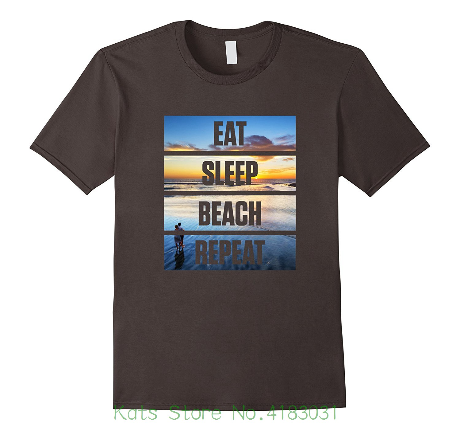 Cute Eat Sleep Beach Repeat Vacation T-shirt Good Quality Brand Cotton Shirt Summer Style Cool Shirts