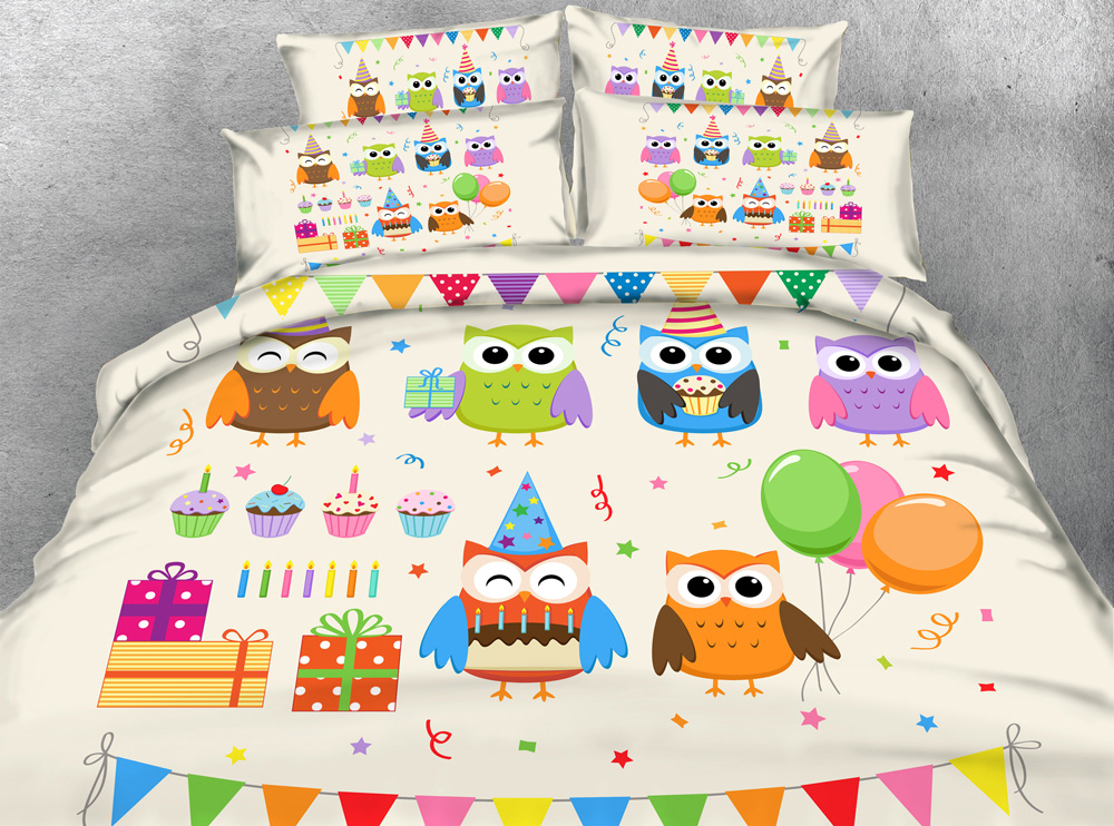 Jf 053 Kids 4pcs Lovely Birds Print Bedding Sets Owl Duvet