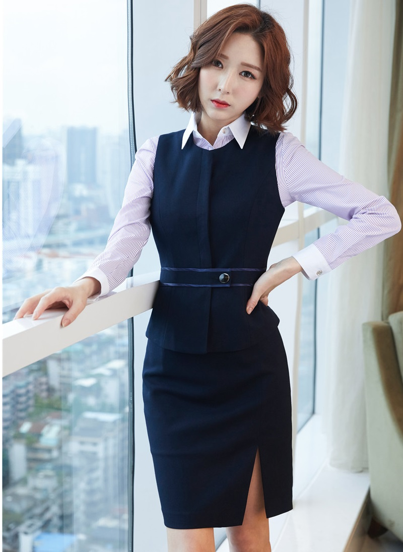 Formal 2 Piece Women Business Suits With Skirt And Top Sets Blue Vest & Waistcoat Ladies Office Uniforms Styles