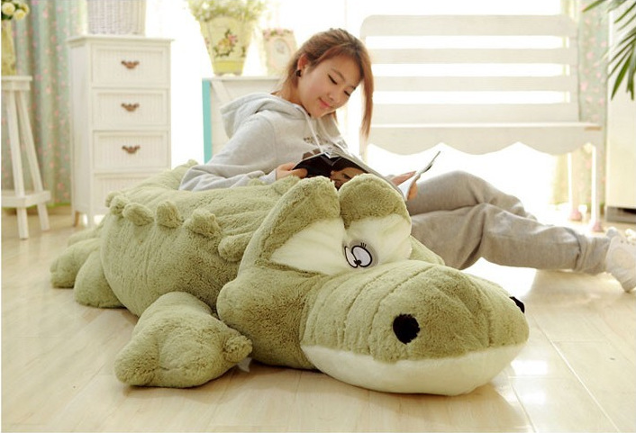 creative big plush crocodile toy stuffed huge cartoon green crocodile doll gift about 200cm big lovely simulation cow plush toy creative stuffed cow doll birthday gift about 75cm