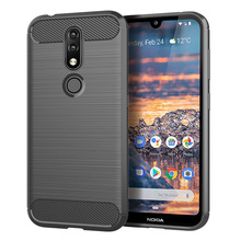 for nokia 4.2 case silicone carbon fiber mobile anti knock back cover cases
