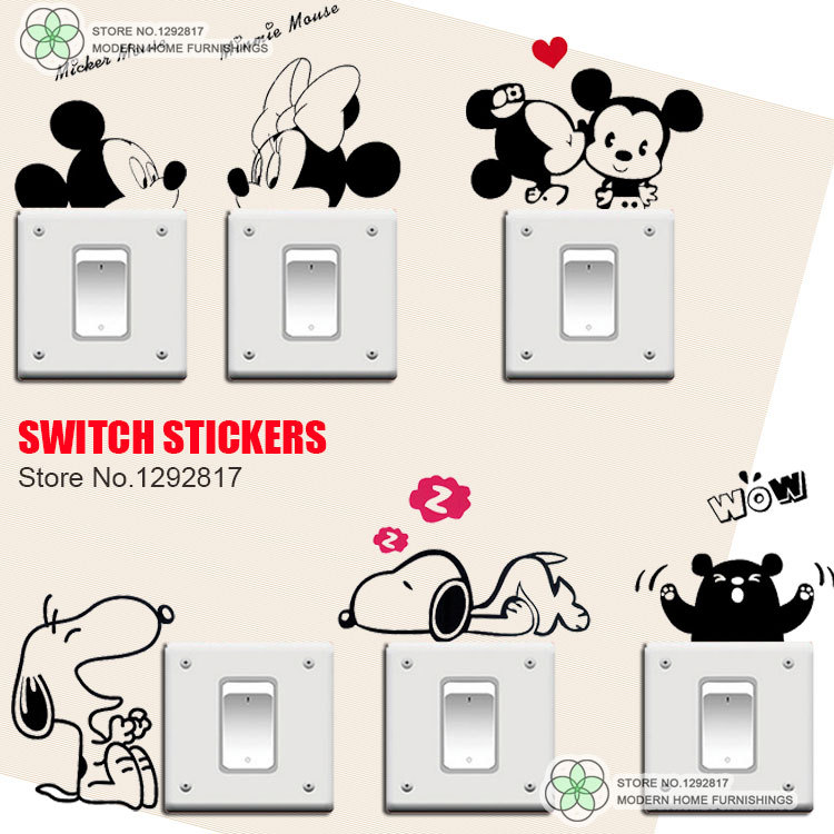 cat switch stickers,removable wall stickers decorative kids room