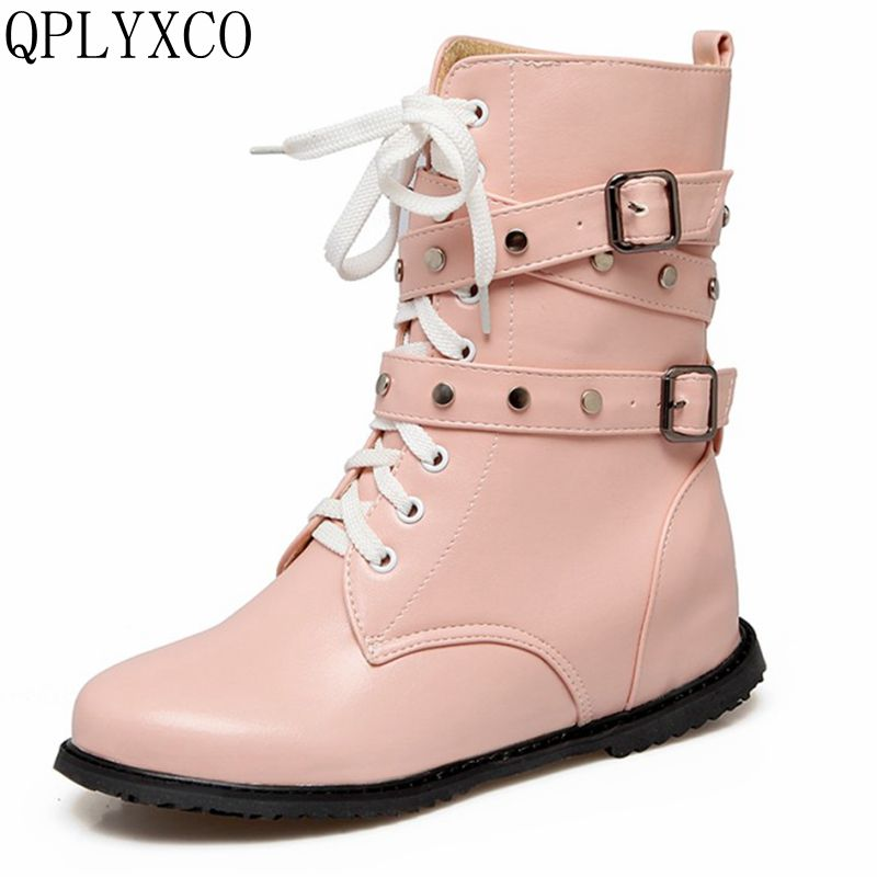 где купить QPLYXCO Plush boots shoes Woman Super Big size 34-52 warm Winter Boots flat Heels ankle boots Sweet causal women shoes 1730 по лучшей цене