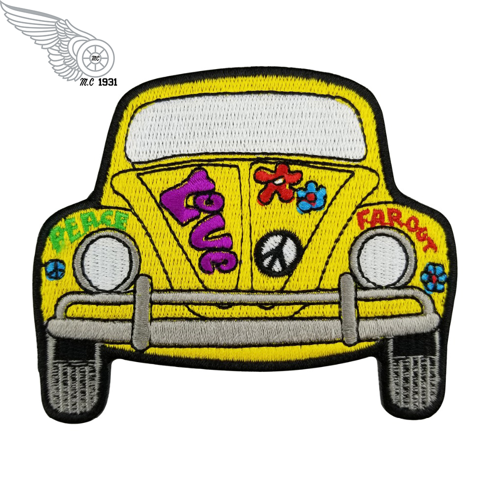 Cartoon Yellow Car Embroidered Patches For Clothing DIY Hot Sell Biker Decoration