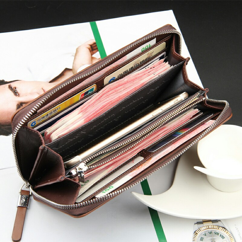 Fashion Leather Men Wallets Long Zipper Men Clutch Bags Men\'s ...