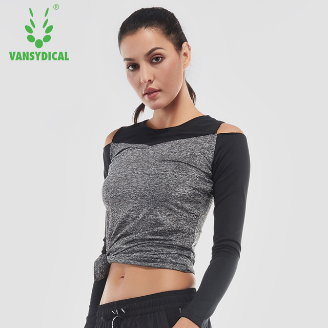 3afb1331a12180 Sexy Off Shoulder Yoga Shirts Women Long Sleeve Running Tees Quick Dry  Fitness Training Tops Mesh Gym XXL Sportswear
