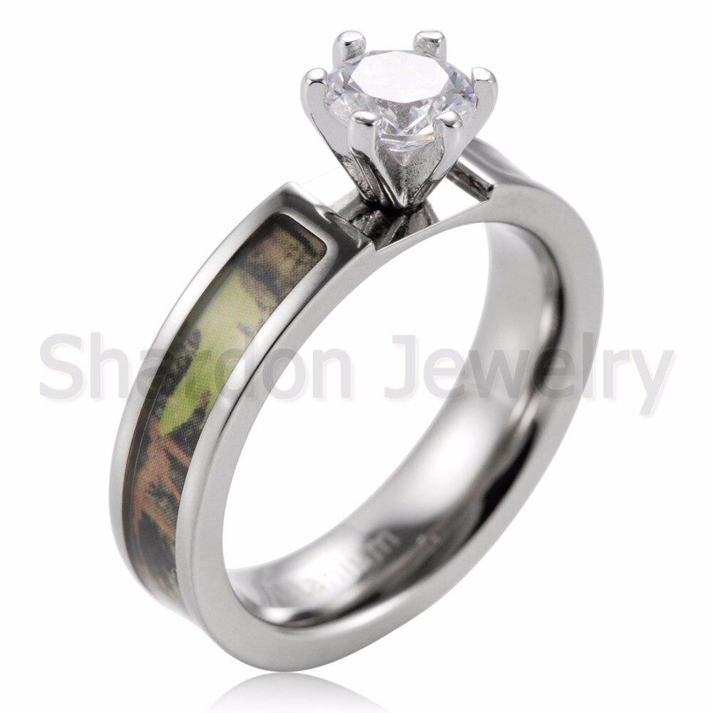 df45a3ac3 קנו תכשיטים חתונה והאירוסין   SHARDON Women's Green Mossy Oak Camo  Engagement Ring Set Titanium 6 Prong Setting CZ Pink Camo Ring Set for  Women-2pcs