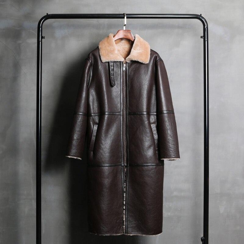 Pièce Longue Cisaillement Épaisse Manteau Hiver Brown Doux Mouton En Femmes Réel 80104d De Npi Conception Une Chaude Peau Cuir Veste Fourrure vqF8Xx